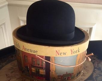 148881e1dda Antique BOWLER HAT   John Cavanagh gentleman s black bowler   in its  original Dobbs Fifth Avenue New York hat box