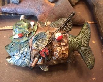 894340f9df6 Ornaments   FISHING   rustic assortment of 5 Lodge décor pieces