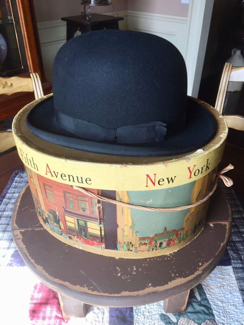 e193c316b32 Antique BOWLER HAT   John Cavanagh gentleman s black bowler