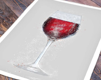 Red Wine Glass Wall Art - Limited Edition