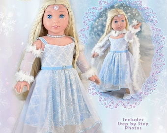 """18 Inch Doll Clothes Dress PDF Sewing Pattern For 18"""" American Girl  Doll Holiday Snow Queen Sugar Plum Fairy Dress Luminaria Designs Elsa"""