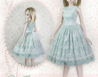 """BJD Doll Clothes Pattern Fits 23.5"""" 1/3 SD Smart Doll Mirai Basic Lace Dress Clothing Gown Trendy Modern Ball Jointed by Luminaria Designs"""