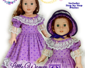 """Civil War Little Women 18 Inch Doll Clothes Dress PDF Sewing Pattern For 18"""" Dolls Such as American Girl Dress by Luminaria Designs"""