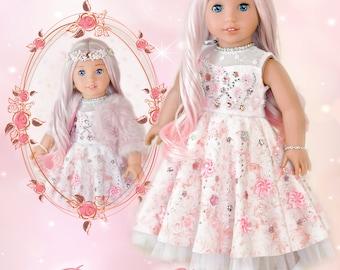 "18 Inch Doll Clothes Dress PDF Sewing Pattern For 18"" Dolls Such as American Girl Rose Garden Sugar Plum Fairy Dress Luminaria Designs"