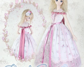 """BJD Doll Clothes Pattern Fits 23.5"""" 1/3 SD Smart Doll Mirai Lace Dress Clothing Gown Trendy Modern Ball Jointed by Luminaria Designs"""