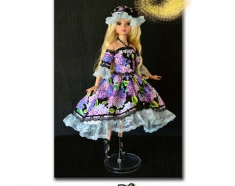 """16"""" Tonner Ellowyne Wilde Clothes Pattern in PDF To Make """"Lilacs in My Garden"""" Outfit, Dress by Luminaria."""