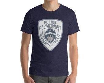 463816c3eb Pokemon Detective Pikachu Ryme City Police Department Short-Sleeve Unisex  T-Shirt Heather Midnight Navy