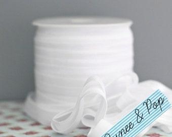 Solid Coloured WHITE Fold Over Elastic 16mm  FOE Fold Over Elastic By the Metre Elastic Hair Accessories Headband Elastic Hair Ties