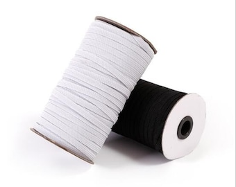 8 mm WHITE Elastic  , Stretch Elastic,  Elastic By The metre, Solid Colour WHITE