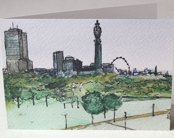 PACK OF 5 - View from Primrose Hill, London - Watercolour and Ink Litho Print Greeting Card