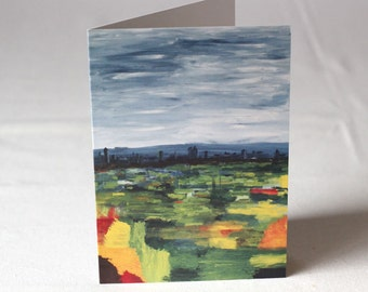 PACK OF 5 -  View from Muswell Hill - Acrylic Painting Litho Print Greeting Card