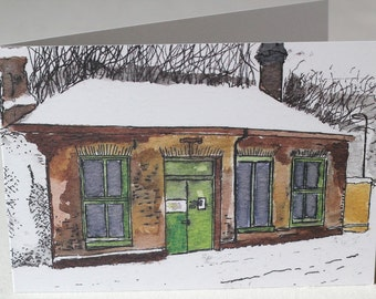 Maze Hill Old Ticket Office Watercolour and Ink Litho Print Greeting Card