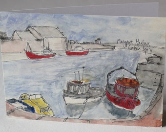 PACK OF 5 - Maryport Harbour Watercolour and Ink Litho Print Greeting Card