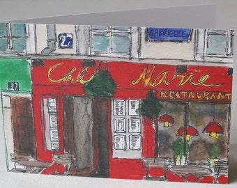 Chez Marie, Paris Restaurant Watercolour Litho Print Greeting Card
