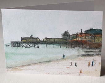 PACK OF 5 - Hastings Beach Watercolour and Ink Litho Print Greeting Card