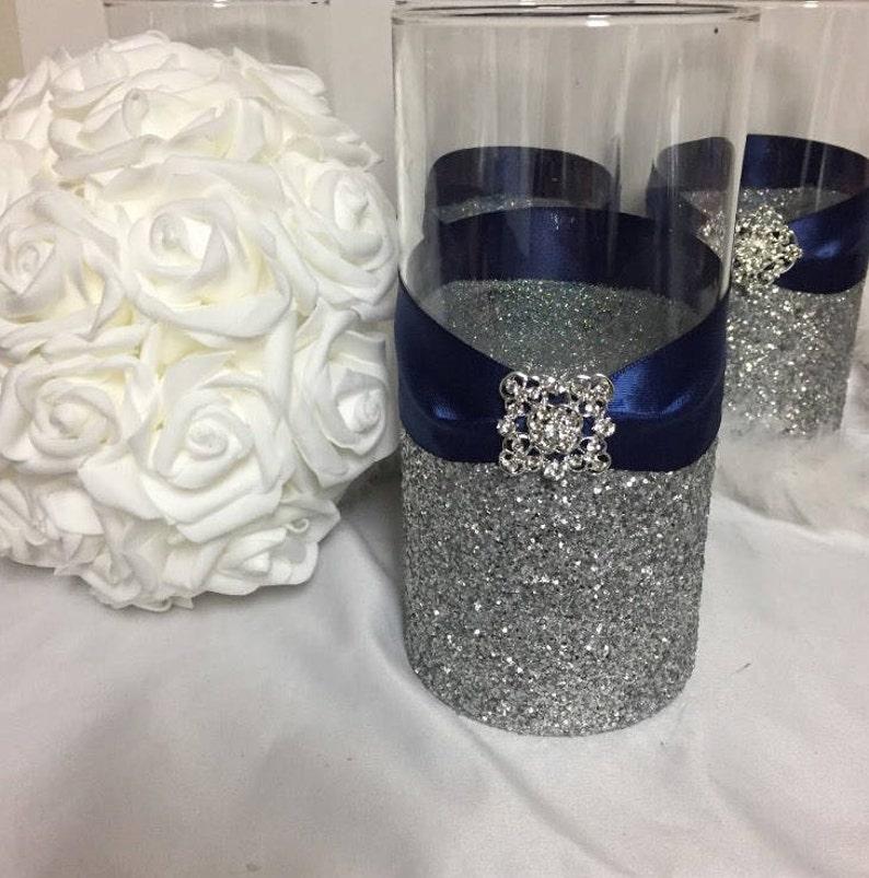 Wedding Centerpiece 1 Silver Glitter Vase Navy Blue Etsy