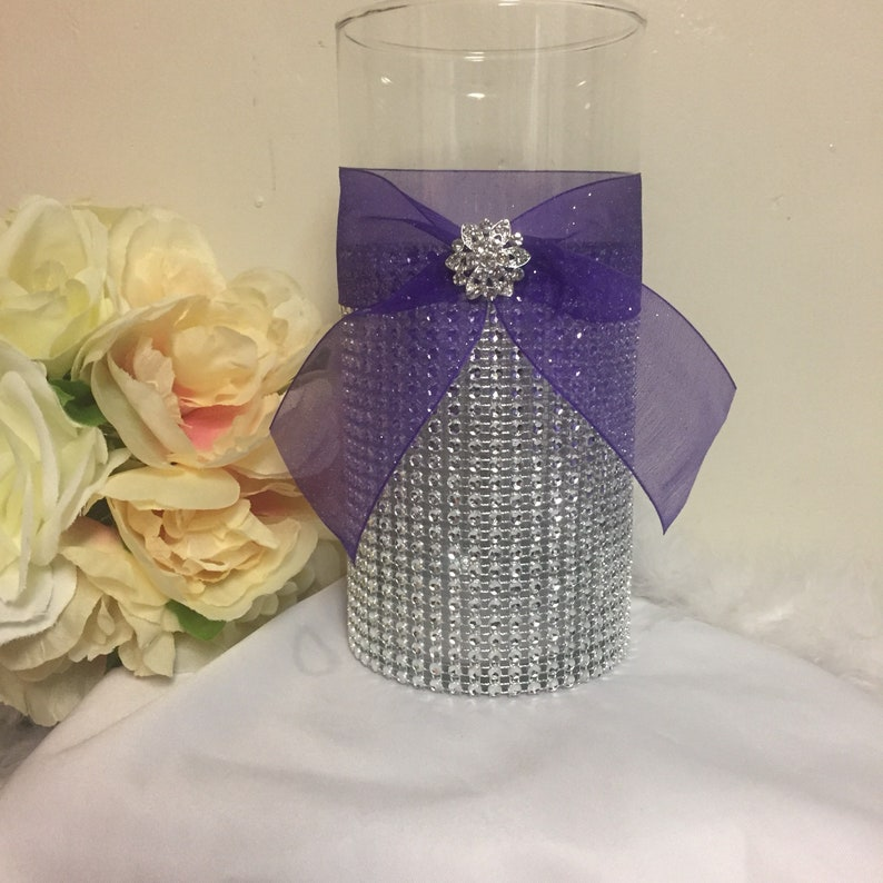 Purple Wedding Theme Centerpiece Rhinestone Vase Bling Vase Etsy