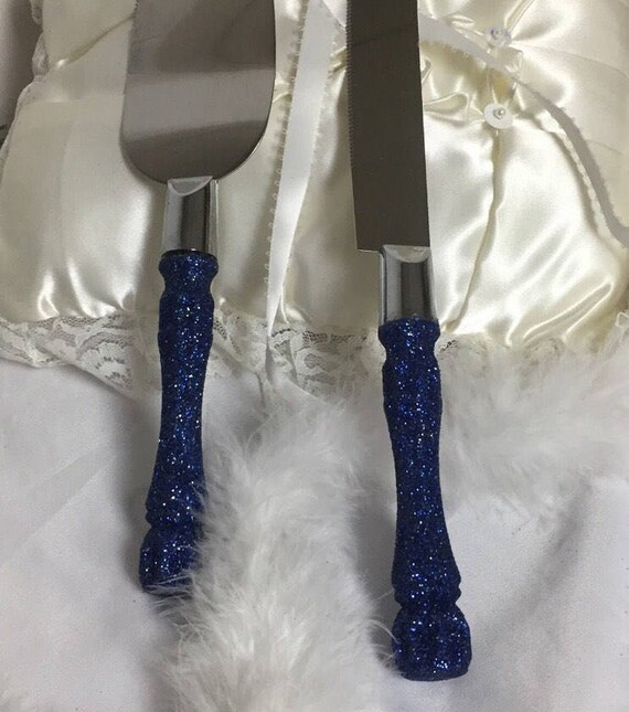 navy blue cake cutting set navy blue glitter cake server etsy