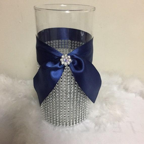 Navy Blue Wedding Theme Centerpiece Rhinestone Vase Bling Etsy