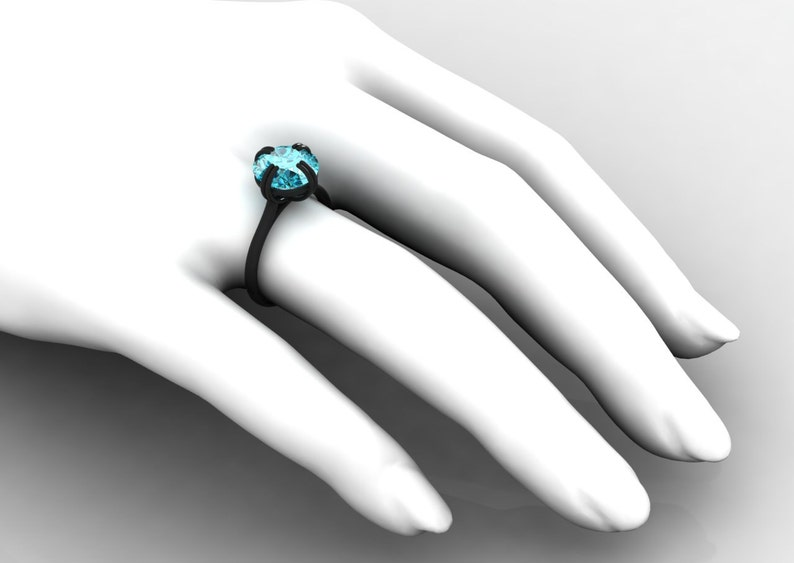 Anniversary Ring for Women with a Blue Topaz Item # SO-012 Wedding 18k Black Gold Simply Beautiful Unique and Elegant Engagement