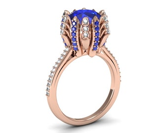 Exceptional and Unique 14k Rose Gold Wedding, Engagement, Anniversary Ring with Diamonds and Blue Sapphires Item # A-003