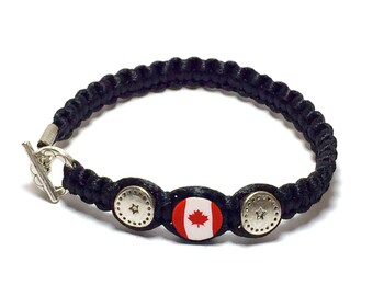 9a4ad678d030 CANADA Flag 2 mm Satin Cord bracelet Macrame Collection