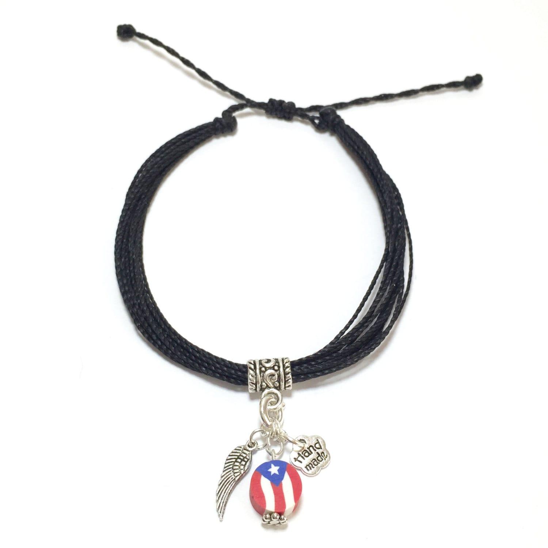 puerto rico adjustable wax coated bracelet flag charm 14 lines of
