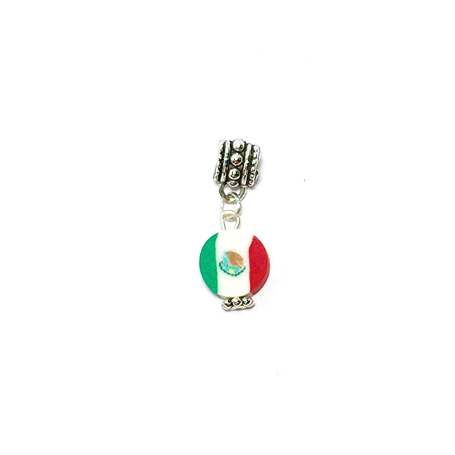 Mexico Flag, European Charms for bracelets, fits Pandora bracelets