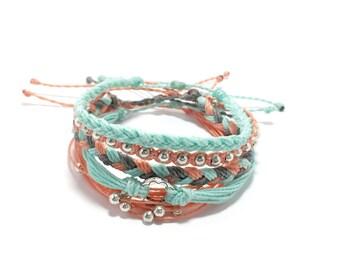 Salmon Mint Bracelet Bracelet Stack, Set of Five Adjustable Waterproof Multi-Strand, with Metal Beads,