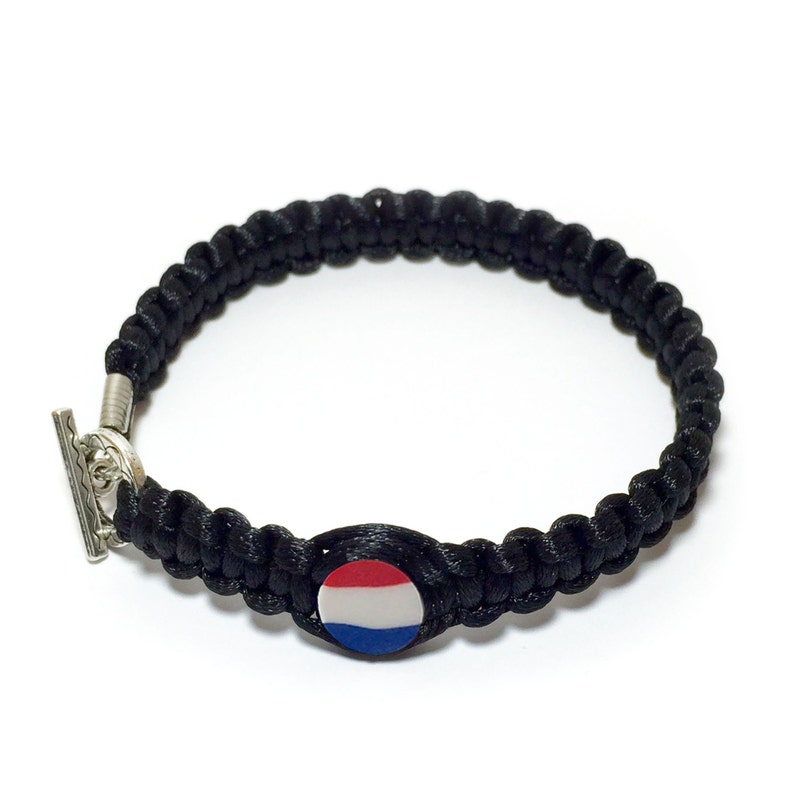 Netherlands Flag 2mm Satin Cord bracelet Macrame Collection Be proud and show your Hands