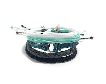 Ocean Blue Bracelet Bracelet Stack, Set of Five Adjustable Waterproof Multi-Strand, with Metal Beads,