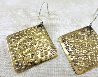 Brass Earrings ~ Square Earrings ~ Dimpled Earrings ~ Geometric Earrings ~ Minimalist Earrings ~ Dangle Earrings ~ Modern Earrings