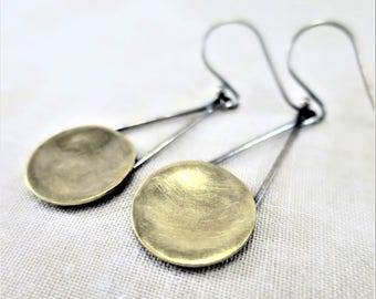 Brass Earrings • Dangle Earrings • Mixed Metal Earrings • Geometric Earrings • Drop Earrings • Lightweight Earrings • Minimalist Earrings