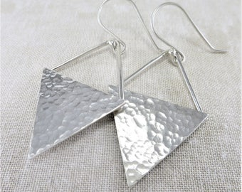 Silver Earrings ~ Geometric Earrings ~ Triangle Earrings ~ Lightweight Earrings ~ Sterling Earrings ~ Minimalist Earrings ~ Dangle Earrings