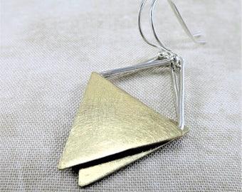 Brass Earrings ~ Geometric Earrings ~ Silver Earrings ~ Dangle Earrings ~ Mixed Metal Earrings ~ Minimalist Earrings ~ Triangle Earrings