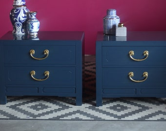 Pair of Chinoiserie Nightstands Lacquered - Lacquered and READY to SHIP