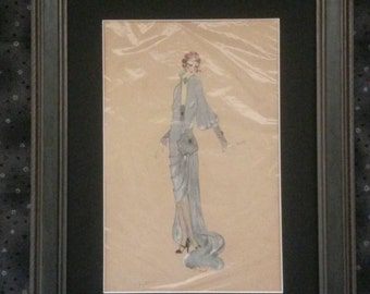 Original hand drawn costume drawing circa 1920's