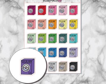 RF050 Washing Machine Rainbow Planner Stickers