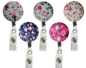 ID Badge Holder Retractable • Badge Clip • Gift • Badge Holder •  Nurse Badge Reel • ID Badge Reel • ID Badge Holder • Floral • Flower Reel