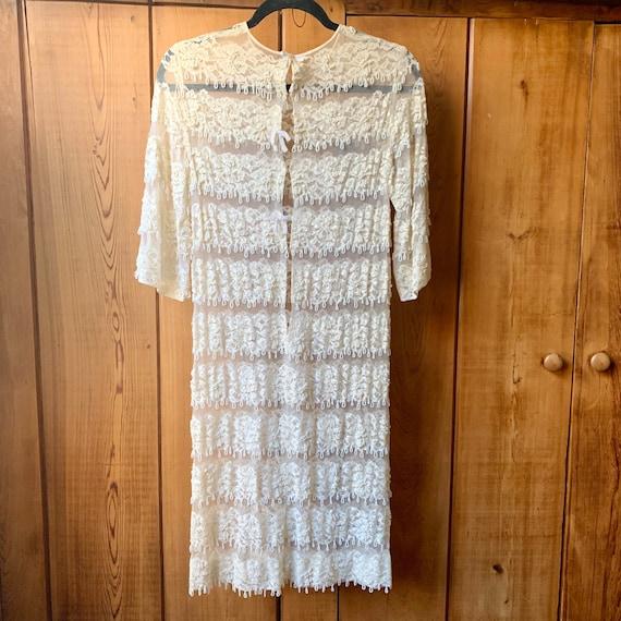 Beaded fringe chiffon dress - image 4