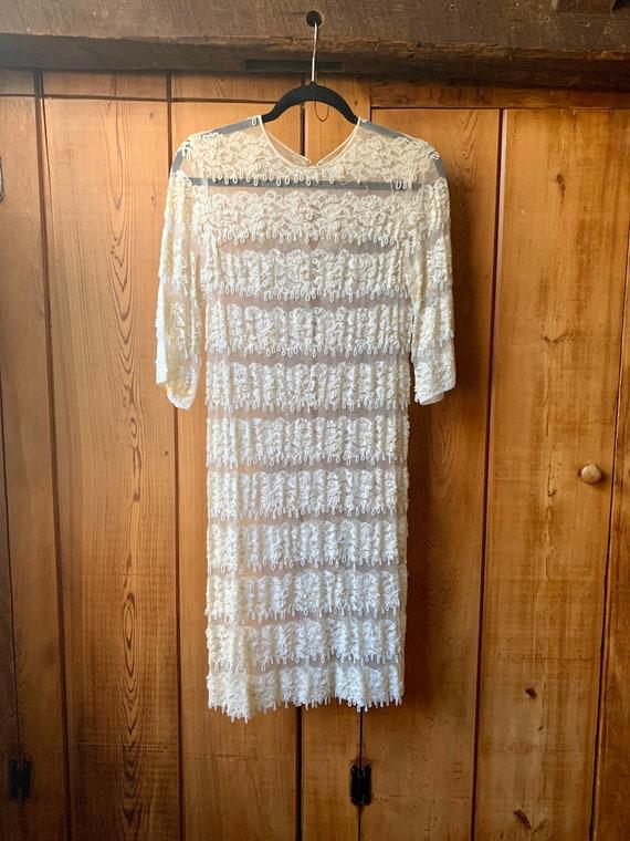 Beaded fringe chiffon dress - image 1