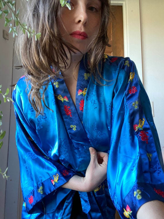 Golden Bee Blue Embroidered Kimono
