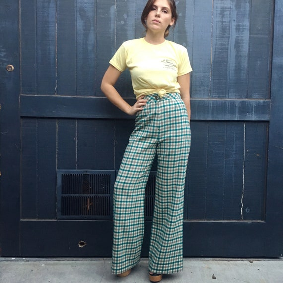 Plaid Checked 70s Wide Leg Pants