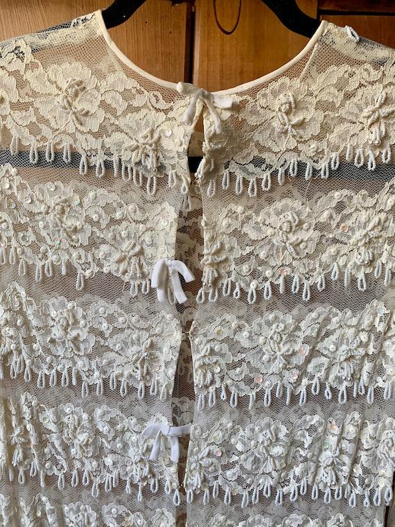 Beaded fringe chiffon dress - image 5