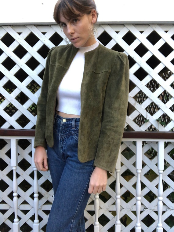 Army Green Suede Leather Jacket