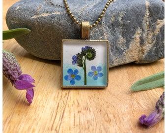 Forget-me-not   square pendant   Flower gift from the heart   bronze