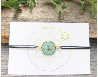elastic bracelet   real flowers   wild carrot   light blue/gold   Gift