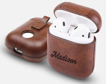 3e00a730841 Personalized AirPods 1 Case Keychain - Any Name Engraved on Brown/Red/Blue  PU Leather Airpods Cute Cover