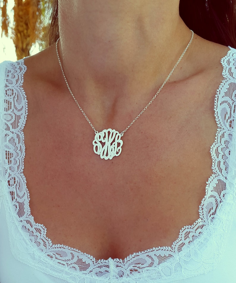 7b20819083b1 Small Monogram Necklace 1 Inch Sterling Silver Monogrammed