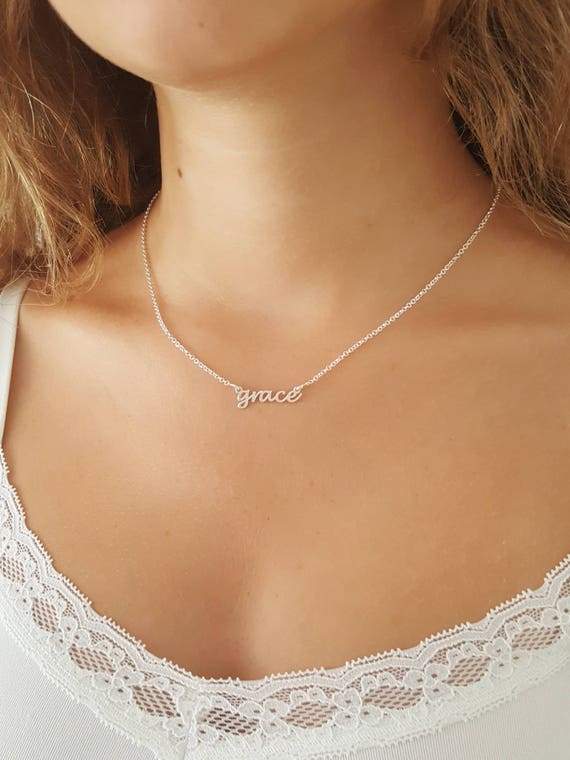 Tiny Name Necklace 18k gold Plated or 925 Sterling Silver Mini Name Necklace Personalized gift Dainty name necklace Bridesmaid Gift for her